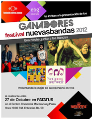 Ganadores Festival Nuevasbandas 2012 en un mismo concierto