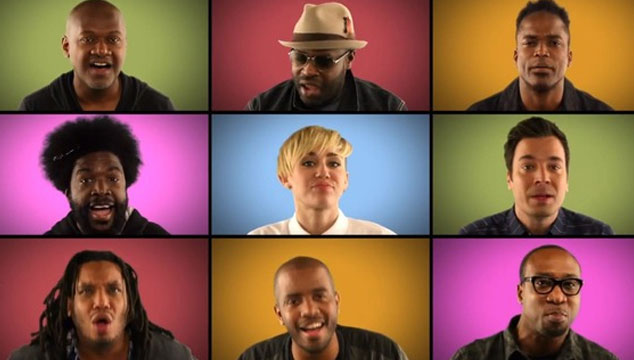 "imagen Miley Cyrus, The Roots y Jimmy Fallon cantan ""We Can't Stop"" a capella (VIDEO)"