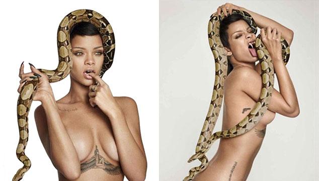 imagen Rihanna comparte sesión de fotos desnuda y con una serpiente a través de Instagram