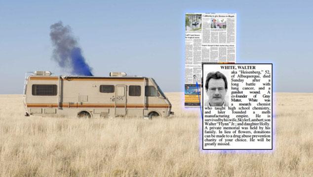 imagen FOTO: Un diario estadounidense publicó un obituario de Walter White (Breaking Bad)