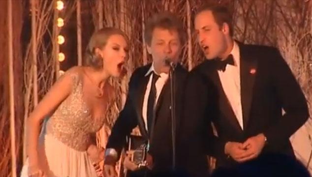 """imagen Taylor Swift, Jon Bon Jovi y el Príncipe William cantan """"Livin' on a prayer"""" (VIDEO)"""