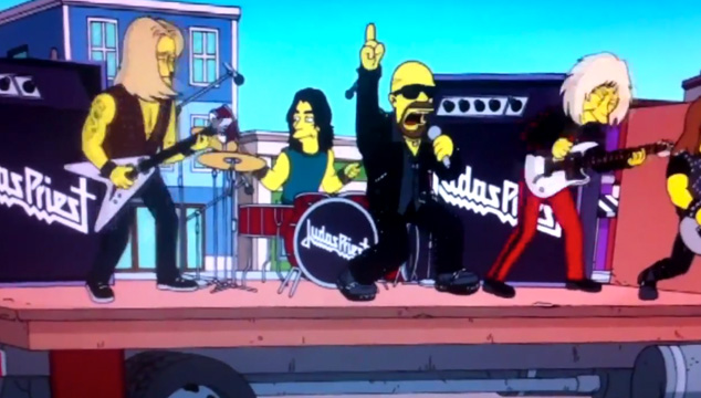 "imagen Judas Priest tocando ""Breaking The Law"" en Los Simpson"