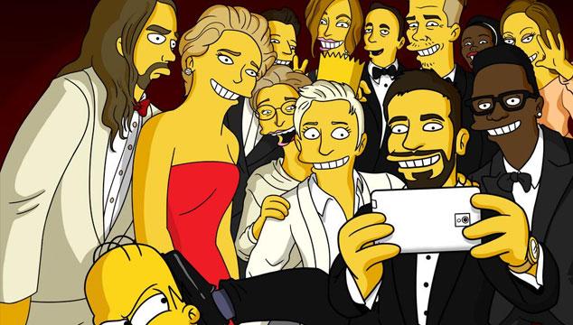 imagen Los Simpson parodian la autofoto de las celebridades en los Oscars