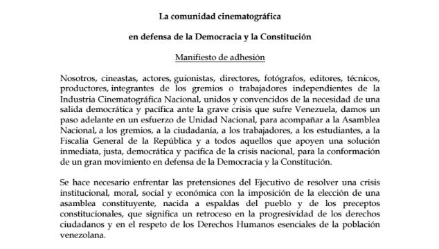 imagen Comunicado de Cineastas en Defensa de la Constitución Venezolana de 1999