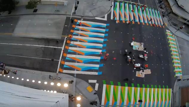 imagen Así se ve el 'Color Aditivo' de Carlos Cruz-Diez en las calles de Los Ángeles (VIDEO)